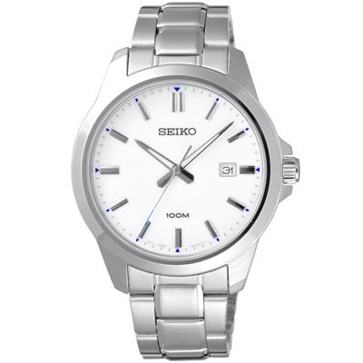 SEIKO 圓的界線時尚日期腕錶-SUR241P1-43mm
