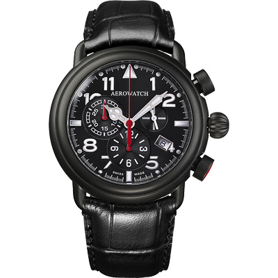 AEROWATCH 都會仕紳三眼計時腕錶-黑x黑框/44mm