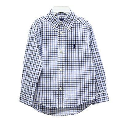 Ralph Lauren 男童小馬雙色格子長袖襯衫-白/藍(2/2T)