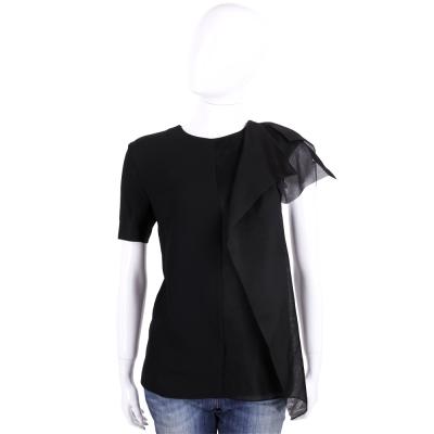 FENDI 黑色紗質拼接設計短袖上衣