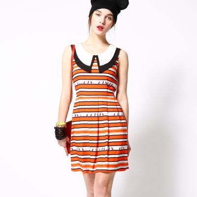 ICHE 衣哲 立體釘珠條紋撞色造型洋裝