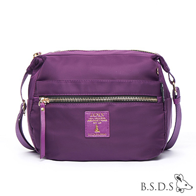 B.S.D.S冰山袋鼠-日系帆布x歐美簡約輕體積拉鍊側背包-潮流紫