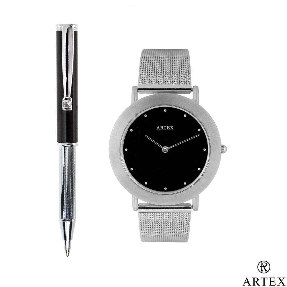 ARTEX 雅緻伸縮原子筆+手錶 雙組合/ 黑