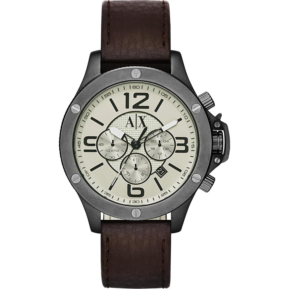 A│X Armani Exchange 率性品味計時錶-灰x咖啡/48mm