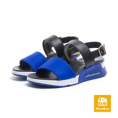 達芙妮DAPHNE ShoeBox系列 涼鞋-一字帶布面方釦氣墊涼鞋-寶藍