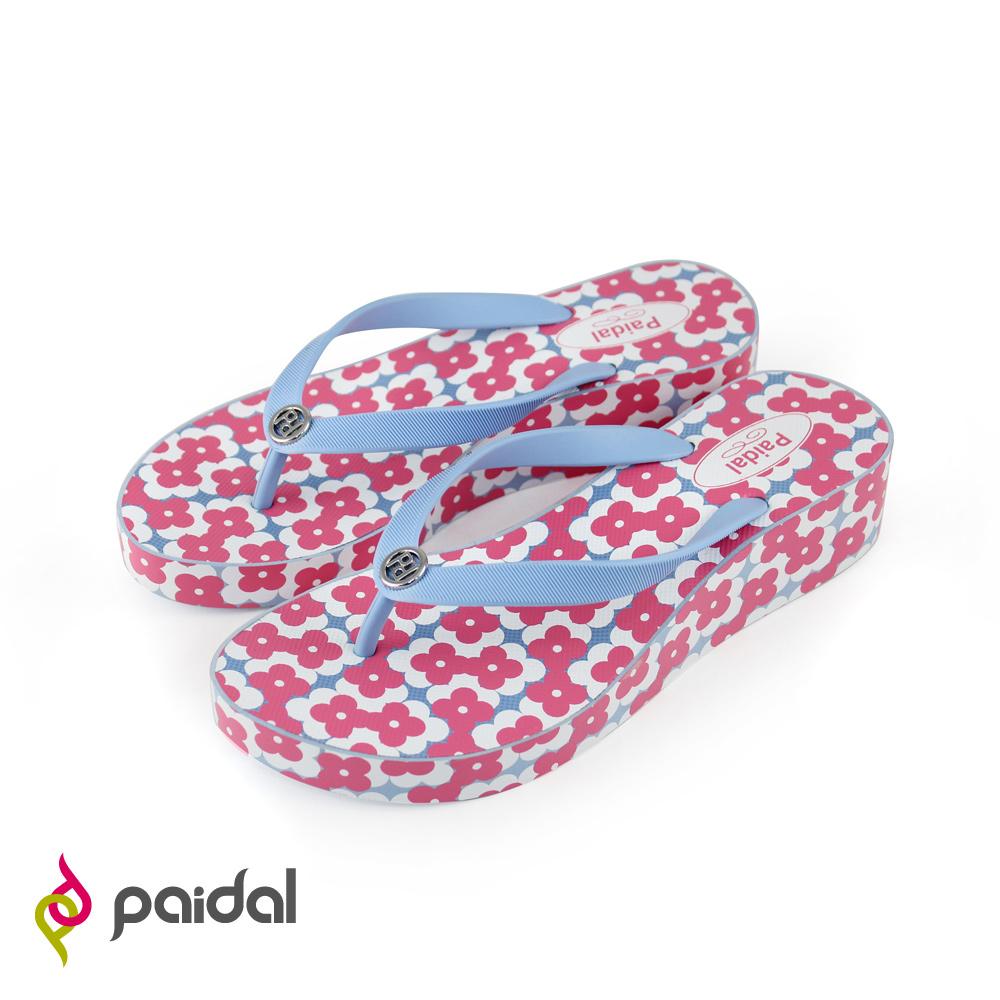 Paidal可愛花朵厚底夾腳拖鞋-天使藍