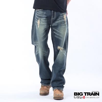 BIG TRAIN 低腰達人繡花垮褲-深藍