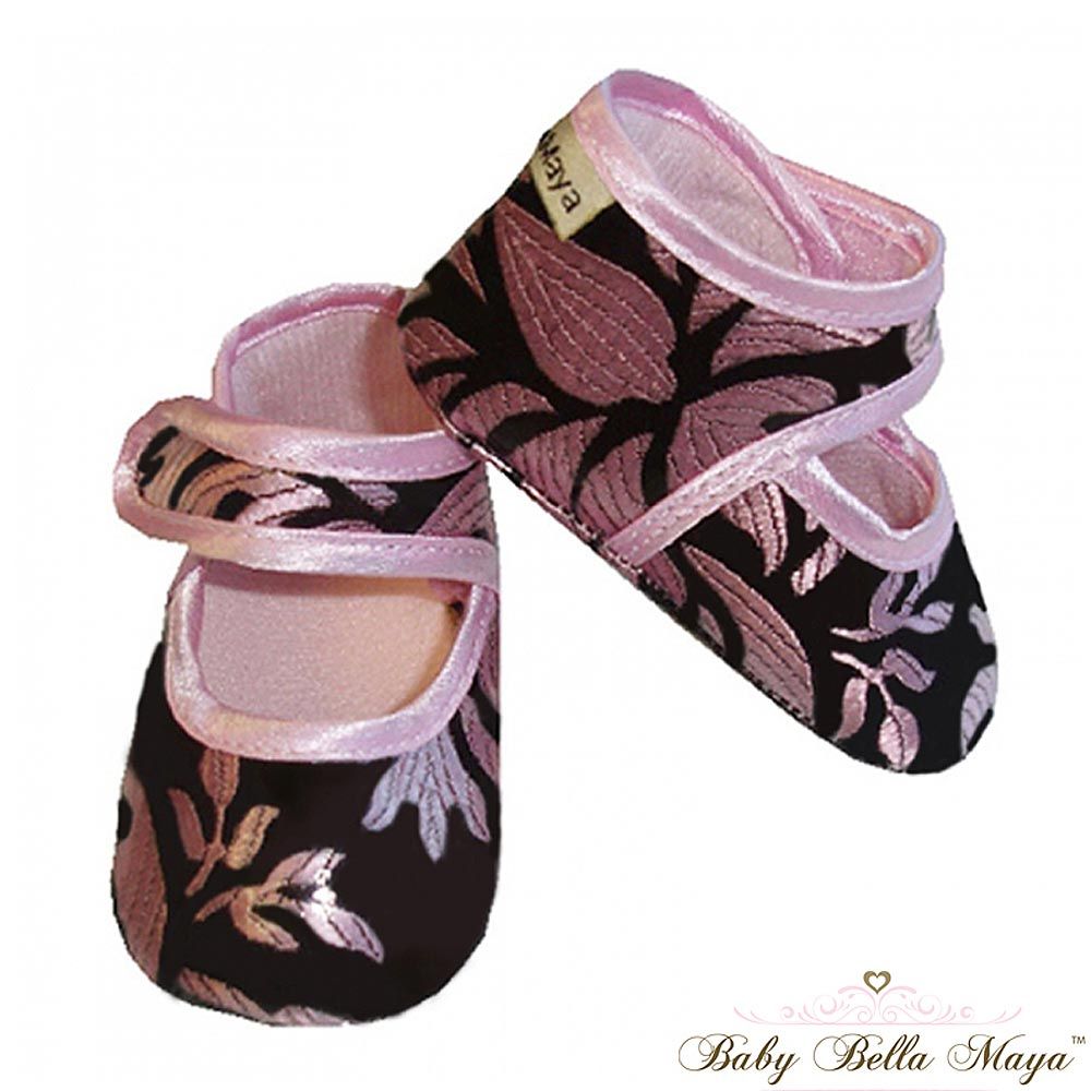 Baby Bella Maya 可愛粉色香檳紋嬰兒學步鞋