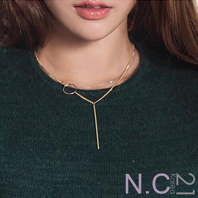 N.C21-韓系簡約氣質垂墜感項鍊 (金色)
