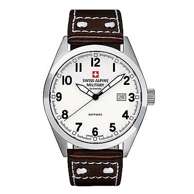 阿爾卑斯 S.A.M -獨家限定-指揮官系列-白色錶盤/皮帶/41mm