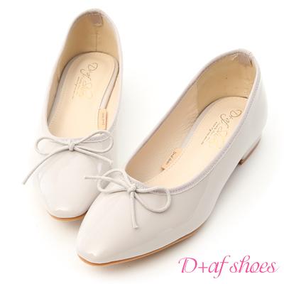 D+AF 氣質典雅.漆皮低跟芭蕾娃娃鞋*灰
