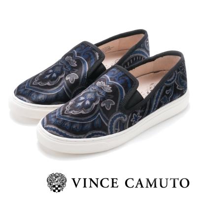 Vince Camuto 百搭時髦素色圖騰懶人便鞋-絨黑