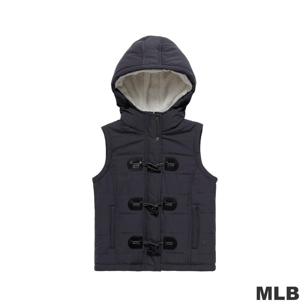 MLB-紐約洋基隊個性牛角扣連帽背心-深灰(女)