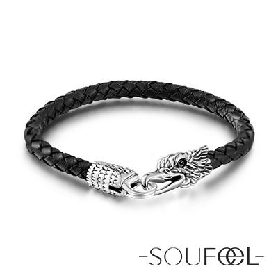 SOUFEEL索菲爾 925純銀珠飾 牛皮手鍊 雄鷹