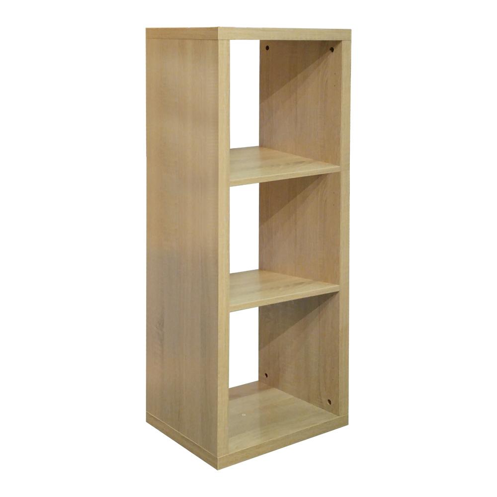 悅家居 空間大師三格櫃-淺橡色-40x33x111cm