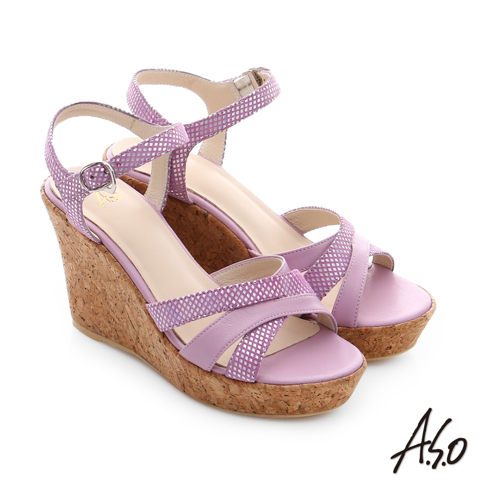 A.S.O 嬉皮假期 牛皮拼接閃色羊皮楔型涼鞋 淺紫色