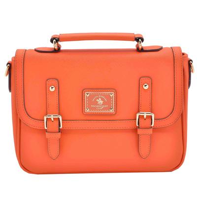 SANTA BARBARA POLO - 小型手提/側背兩用記者包-香橙橘