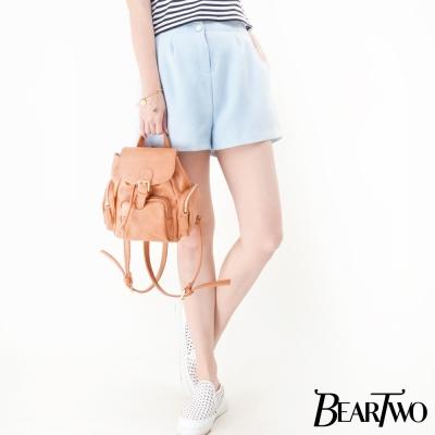 beartwo-質感雙釦打摺造型短褲-藍色