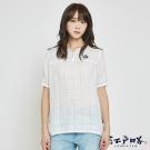 EDWIN EDO KATSU 江戶勝格紋短袖麻襯衫-女-米白