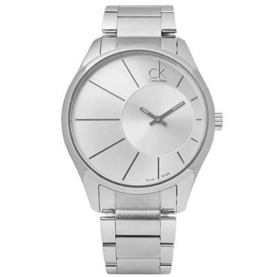 CK 都會紳士放射狀視覺不鏽鋼手錶 - 銀色 /43mm