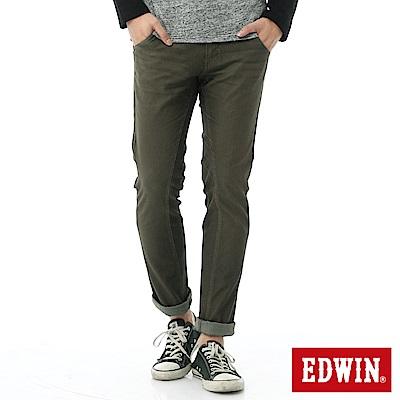 EDWIN 迦績褲 剪接立體窄直筒牛仔褲-男-橄欖綠
