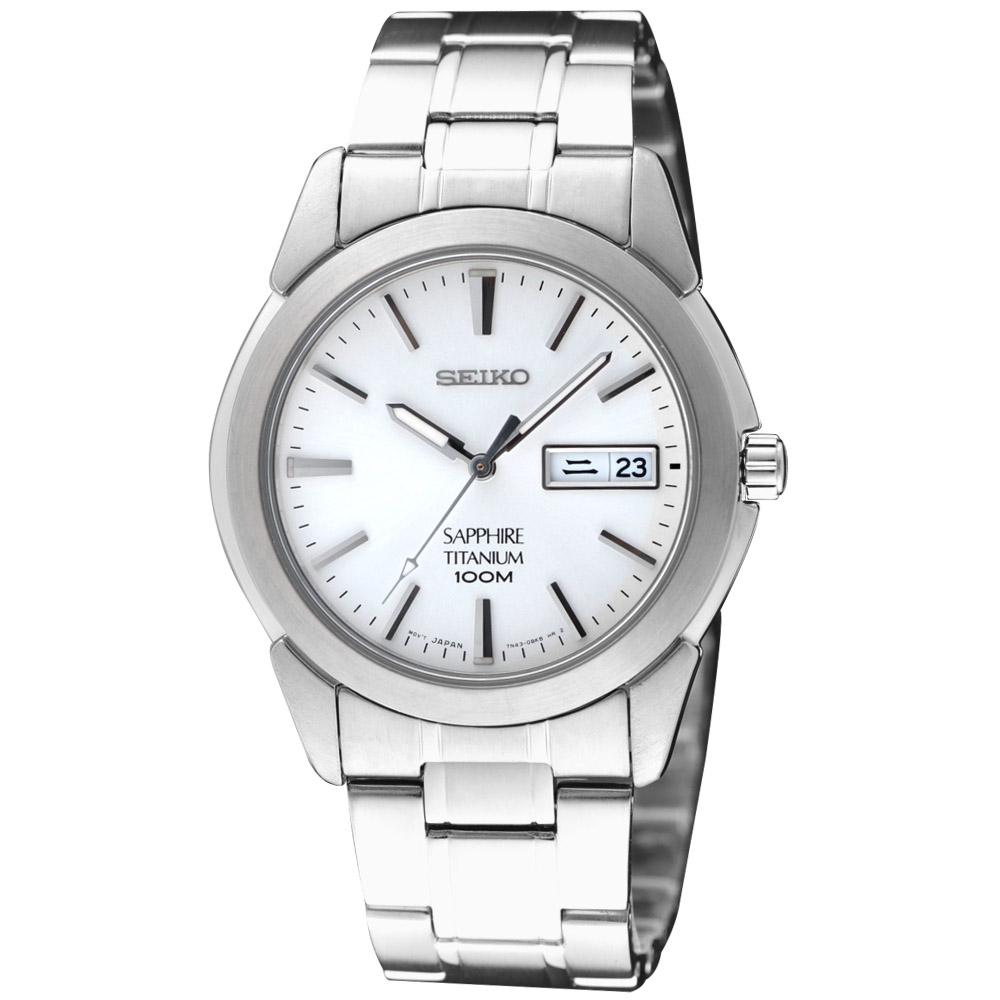 SEIKO 【鈦】超薄都會時尚腕錶-白 7N43-0AS0S(SGG727P1)
