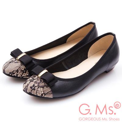 G.Ms. MIT系列-蕾絲織帶蝴蝶結娃娃鞋-黑色