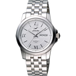 ENICAR 英納格 羅馬經典日曆機械腕錶-銀/39mm