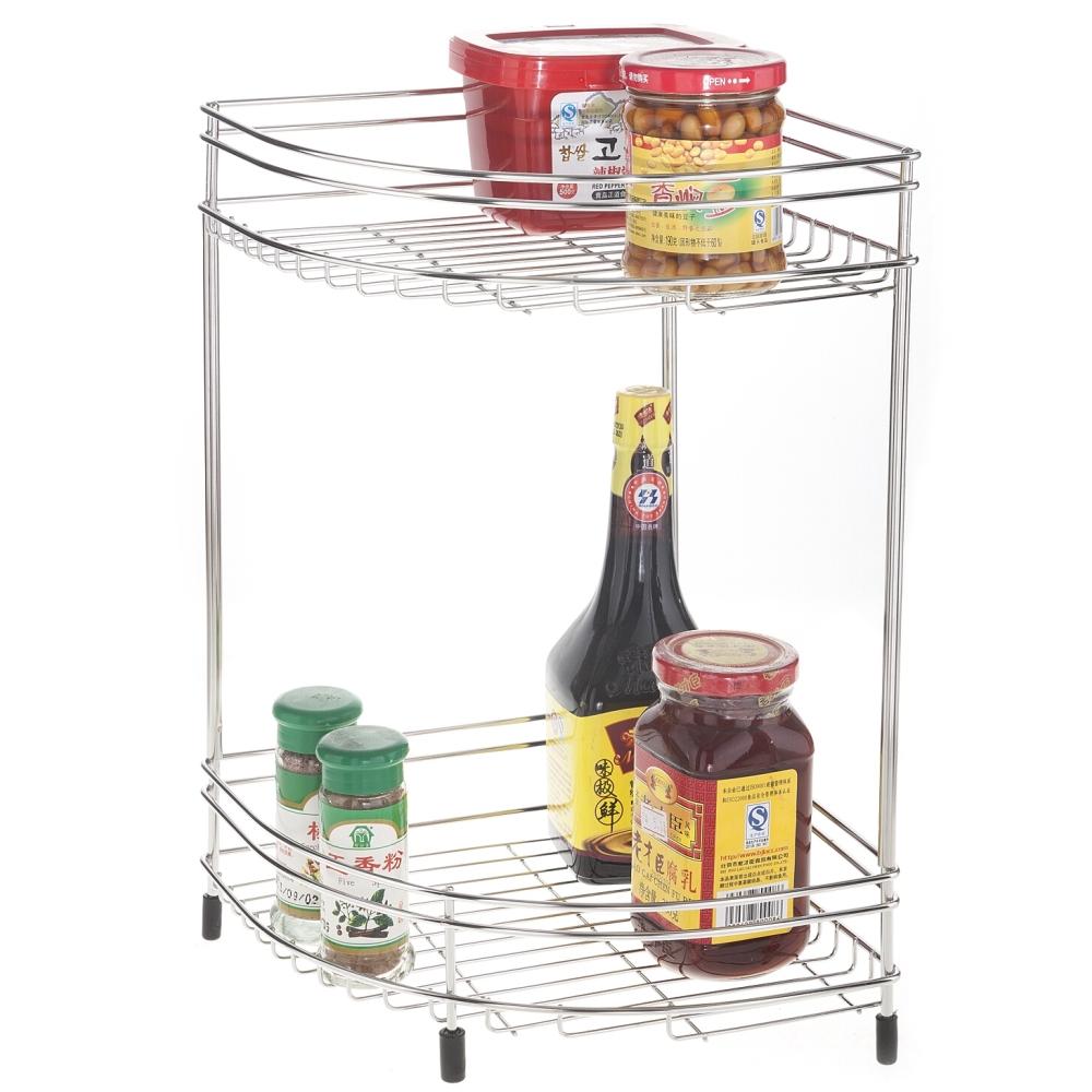 【304無磁性】  18-8高品質純不鏽鋼雙層-廚房收納架/廚房置物架(二入)