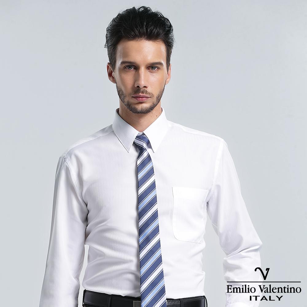 Emilio Valentino 范倫提諾保暖條紋長袖襯衫-白