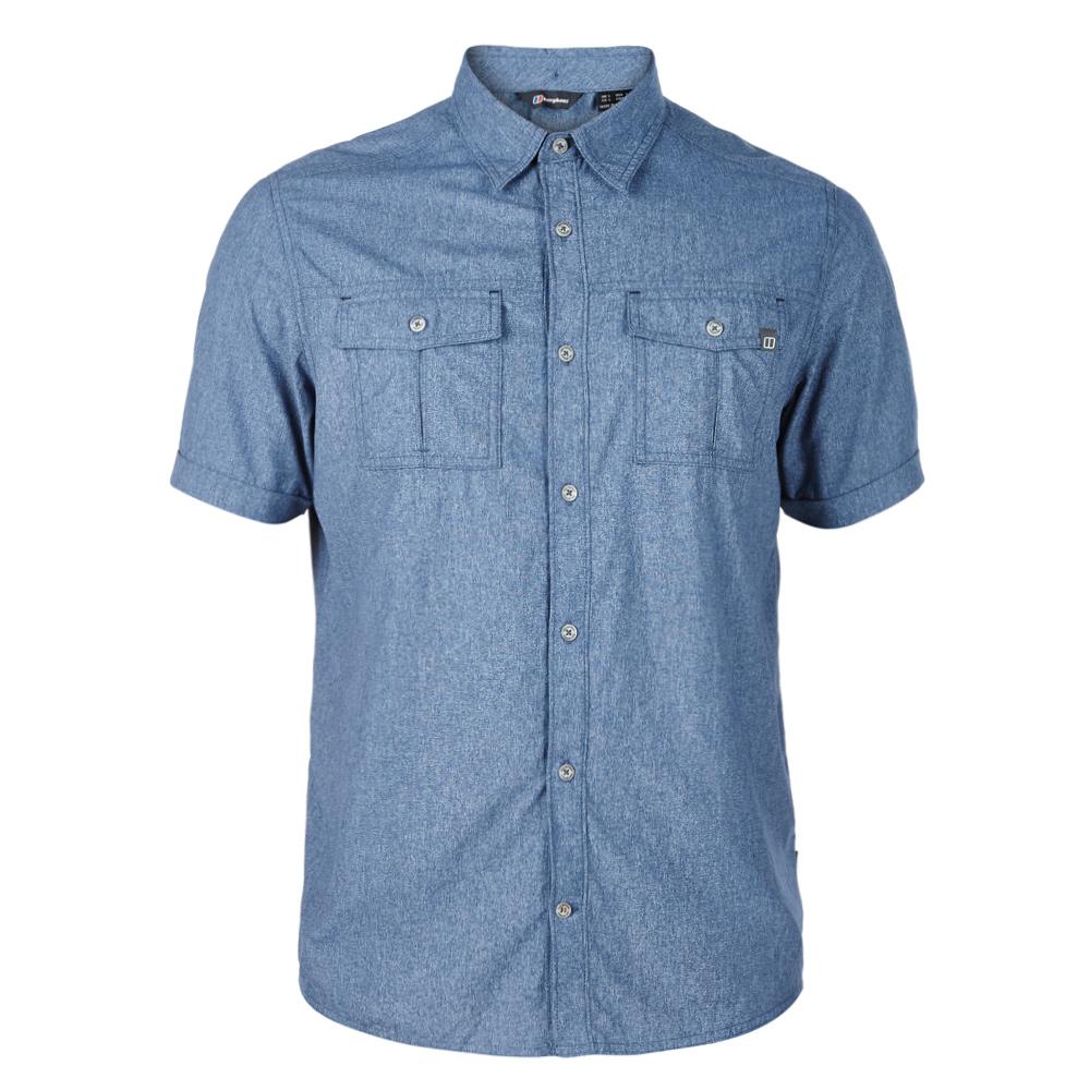 【Berghaus 貝豪斯】男款銀離子透氣抗UV短袖襯衫S06M05-藍
