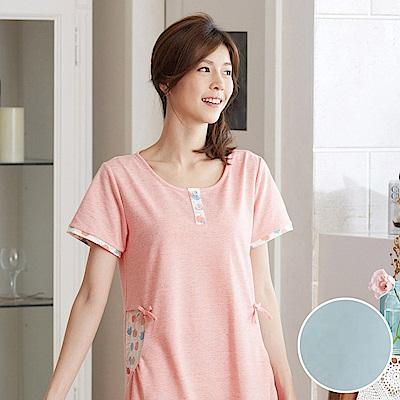 華歌爾睡衣 蘋果花印花居家服 M-L 睡裙(藍)夏日透氣