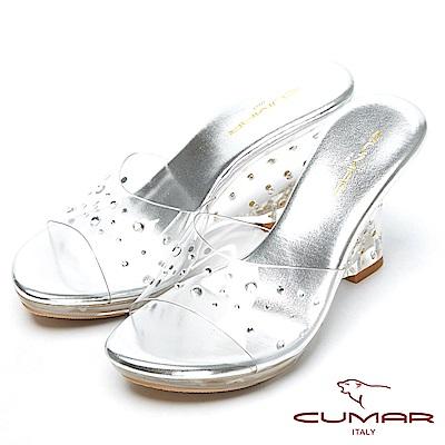 CUMAR仙杜瑞拉-水鑽裸肌美腳楔形跟玻璃鞋-銀色