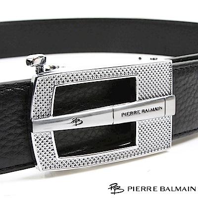 PB 皮爾帕門-都會設計菱點中橫款-頭層牛皮自動扣皮帶-855