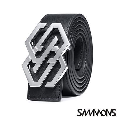 SAMMONS 真皮時尚字母造型皮帶 精緻黑