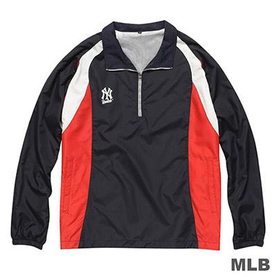 MLB-紐約洋基隊開門襟長袖防風球衣-深藍(男)