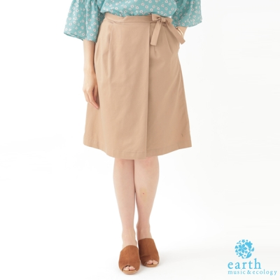 earth music 蝴蝶結腰際打摺剪裁ALINE及膝裙