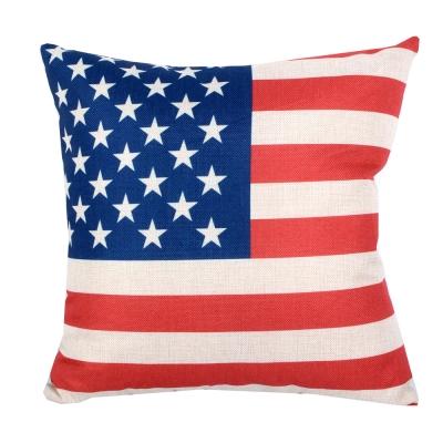 異國風 棉麻舒適方型抱枕.靠枕 (美國國旗)