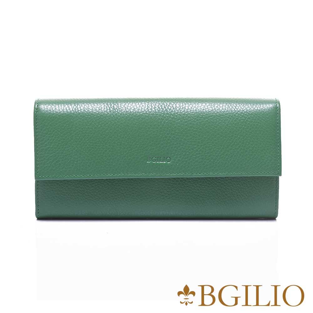 義大利BGilio 復古原味牛皮系列釦式長夾 -綠色1969.324-08