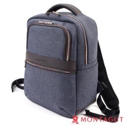 MONTAGUT夢特嬌-防潑水輕量減壓帶後背包-時尚丹寧風