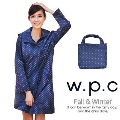 w.p.c. 日系經典款 時尚雨衣 風衣 R1001 深藍點點