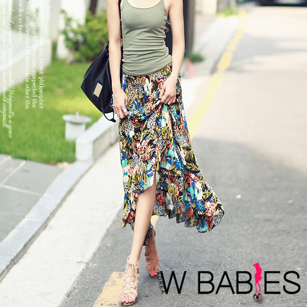 【W BABIES】熱情滿版花朵飄逸長裙 (共二色)