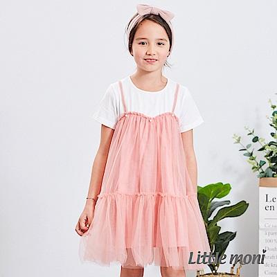 Little moni 拼接網紗洋裝 (2色可選)