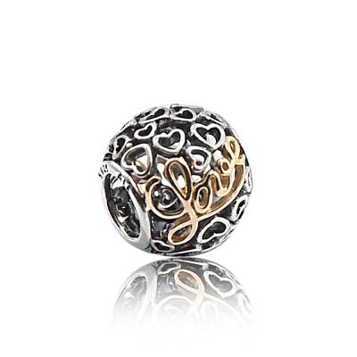 Pandora 潘朵拉 14k金LOVE圓形鏤空愛心 鑲鋯純銀墜飾 串珠