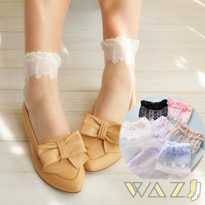 Wazi-花邊蕾絲透明水晶短絲襪 (1組三入)