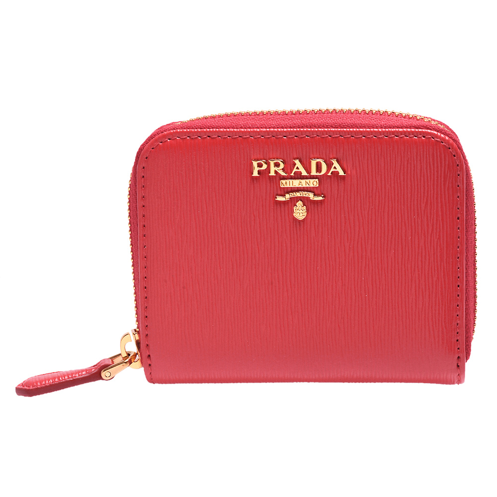 PRADA 經典金色浮雕LOGO水波直紋牛皮拉鍊卡夾/零錢包(桃紅)