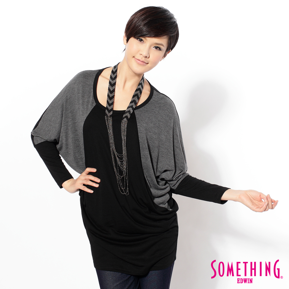 SOMETHING 擺脫厚重 色塊剪接束袖設計長版T恤-女款(灰色)