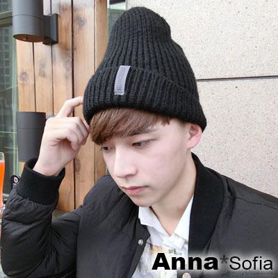 AnnaSofia-側灰標翻摺-保暖加厚針織貼頭毛帽-酷黑系