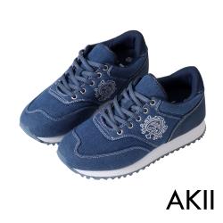 AKII韓國空運 丹寧時尚內增高6公分休閒鞋-丹寧藍