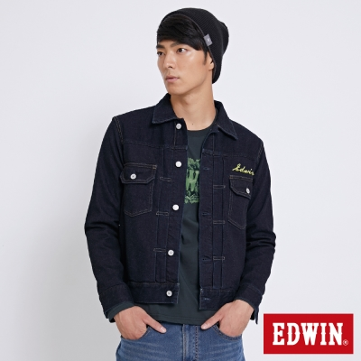 EDWIN 冒險旅行復古繡花牛仔外套-男-原藍色
